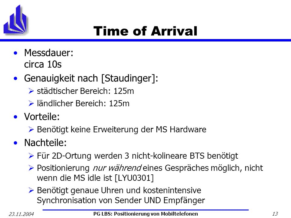 Time of Arrival Messdauer: circa 10s Genauigkeit nach [Staudinger]: